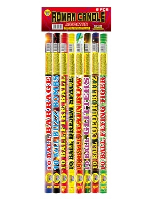 10 Ball Assorted Effect Roman Candle (8 pk)